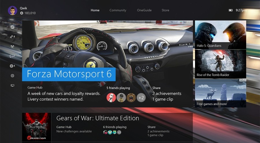 The new home menu for the Xbox One. (Image by Microsoft)