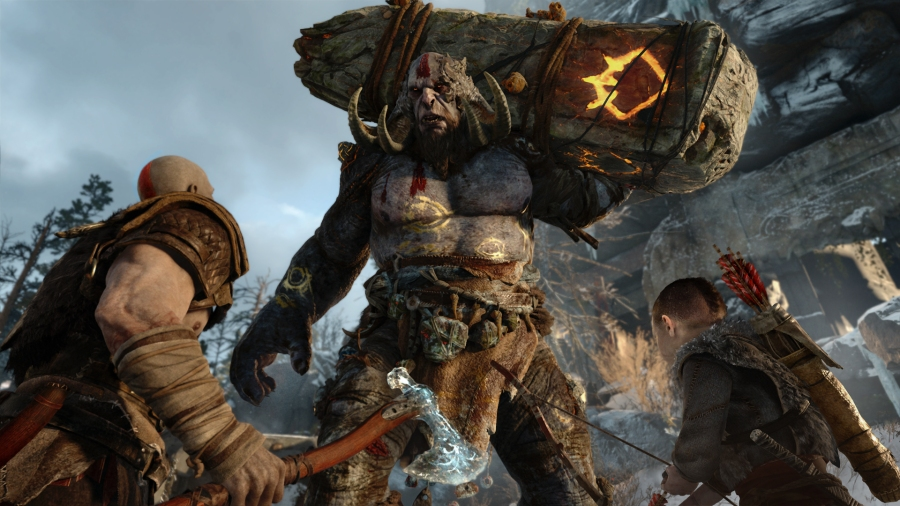 Kratos and his son encounter a troll in the new God of War (Image by SIE)