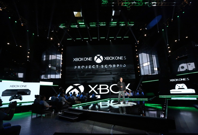 Phil Spencer on the stage at Microsoft's E3 conference this year. (Photo by Microsoft)